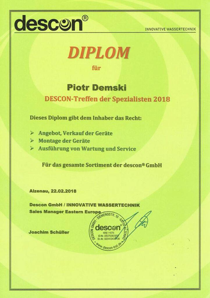 Diplom fur Piotr Demski - descon